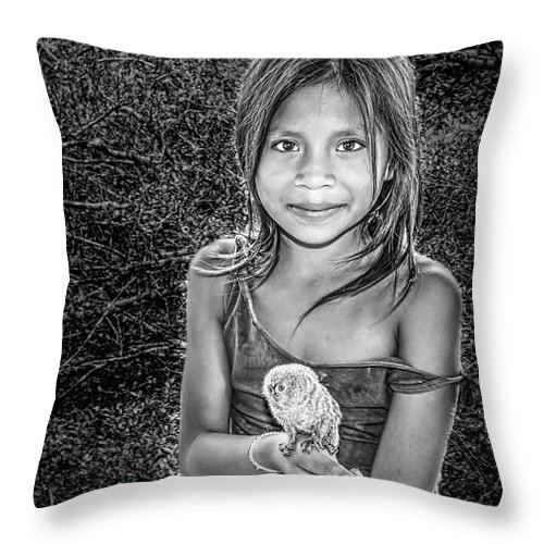 Amazon Throw Pillow featuring the photograph Girl With Her Pet by Maria Coulson