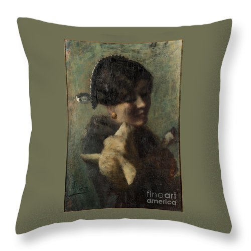 Giovanni Segantini Throw Pillow featuring the painting Girl With Lamb In Her Arms by MotionAge Designs