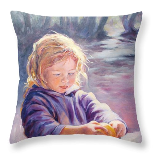 Portrait Throw Pillow featuring the painting Girl With Orange by Ekaterina Mortensen