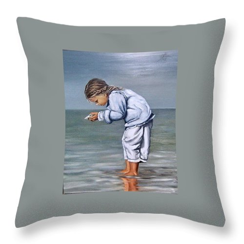 Kid Girl Seascape Sea Children Reflection Water Sea Shell Figurative Throw Pillow featuring the painting Girl With Shell by Natalia Tejera