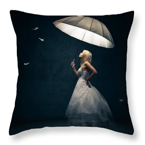 Girl Throw Pillow featuring the photograph Girl With Umbrella And Falling Feathers by Johan Swanepoel