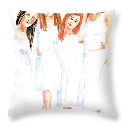 Girls Throw Pillow featuring the painting Girlfriends by Arline Wagner