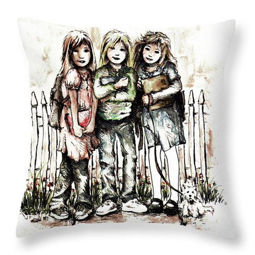 Figure Throw Pillow featuring the drawing Girlfriends by William Russell Nowicki