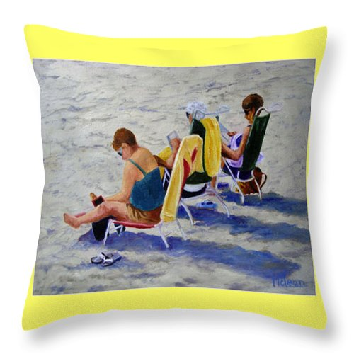 Figures Throw Pillow featuring the painting Girls Day At The Beach by Fran Rittenhouse-McLean