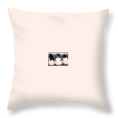 Girls Throw Pillow featuring the painting Girls In White at the beach by Patricia Awapara