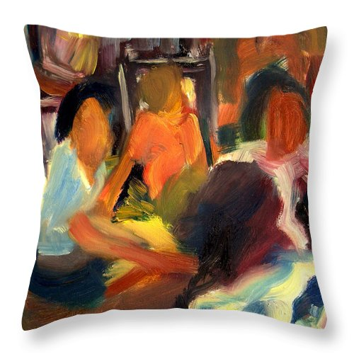 Dornberg Throw Pillow featuring the painting Girls Meeting by Bob Dornberg