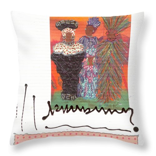 Greeting Cards Throw Pillow featuring the mixed media Girls Night Out by Angela L Walker