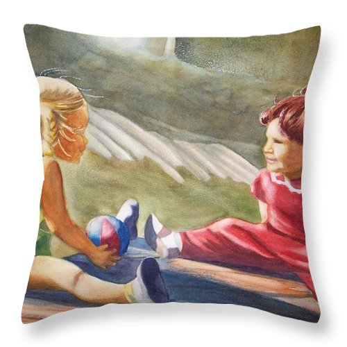 Girls Throw Pillow featuring the painting Girls Playing Ball by Marilyn Jacobson