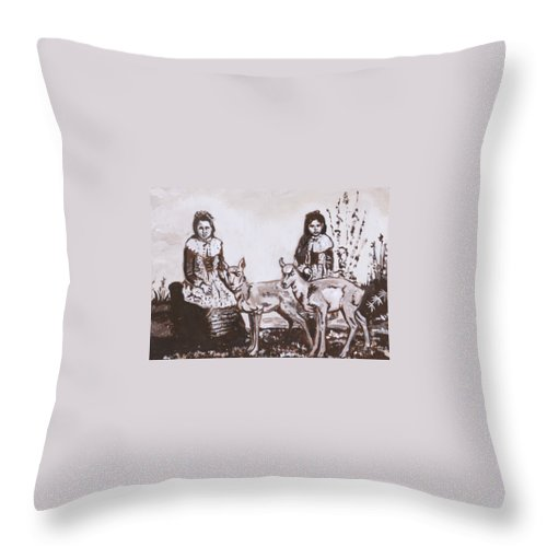 Western Throw Pillow featuring the painting Girls With Pronghorn Fawns Historical Vignette From River Mural by Dawn Senior-Trask