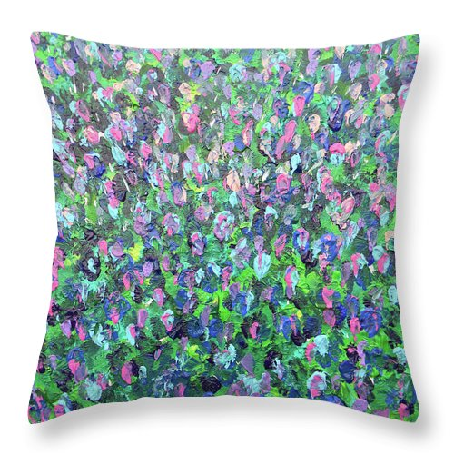 Marwan George Khoury Throw Pillow featuring the painting Gisement De Lavande by Marwan George Khoury