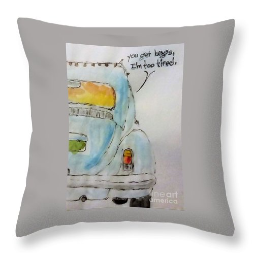 Vw Throw Pillow featuring the drawing Git the bags by Leon Hollins III