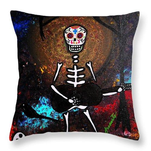 Dia Throw Pillow featuring the painting Gitarero by Pristine Cartera Turkus