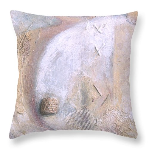 Collage Throw Pillow featuring the painting Give And Receive by Kerryn Madsen-Pietsch