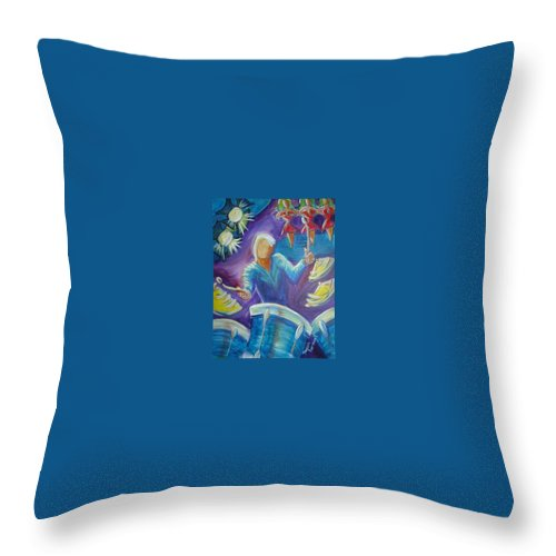 Jazz Throw Pillow featuring the painting Give Me A Beat by Regina Walsh