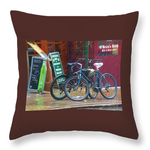 Bike Throw Pillow featuring the photograph Give Me Shelter by Debbi Granruth