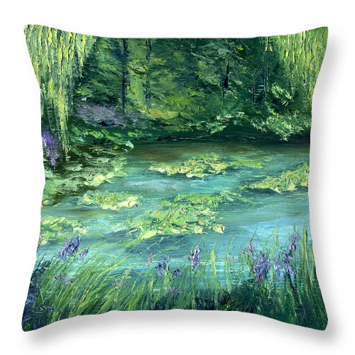 Giverny Throw Pillow featuring the painting Giverny by Gail Kirtz