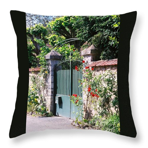 Giverny Throw Pillow featuring the photograph Giverny Gate by Nadine Rippelmeyer