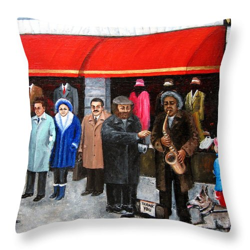 City Landscape Throw Pillow featuring the painting Givers And Takers by Leonardo Ruggieri