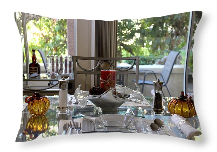 """Giving Thanks In California Thanksgiving Table"" Fine Art Photograph on Throw Pillow"