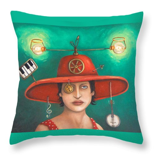 Piano Throw Pillow featuring the painting Gizmo 7 by Leah Saulnier The Painting Maniac