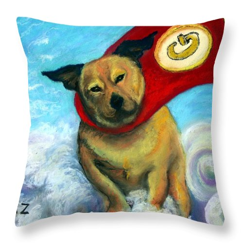 Dog Throw Pillow featuring the painting Gizmo The Great by Minaz Jantz