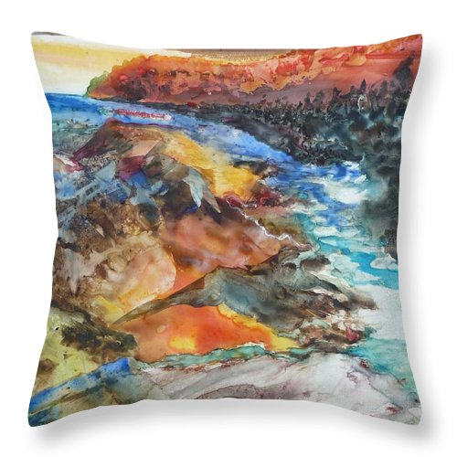 Abstract Throw Pillow featuring the painting Glacial Meltdown by Ruth Kamenev