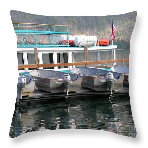 Boats Throw Pillow featuring the photograph Glacier Boating by Diane Greco-Lesser