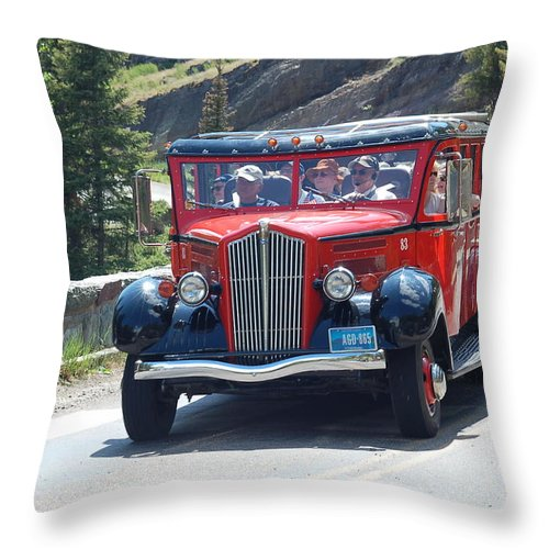 National Park Tour Bus Throw Pillow featuring the photograph Glacier Red Bus by D Nigon