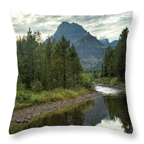 Glacier - Swiftcurrent Creek Throw Pillow featuring the photograph Glacier - Swiftcurrent Creek by Jemmy Archer