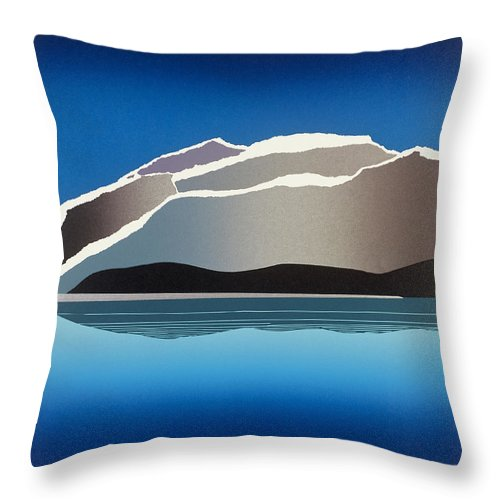 Landscape Throw Pillow featuring the mixed media Glaciers by Jarle Rosseland