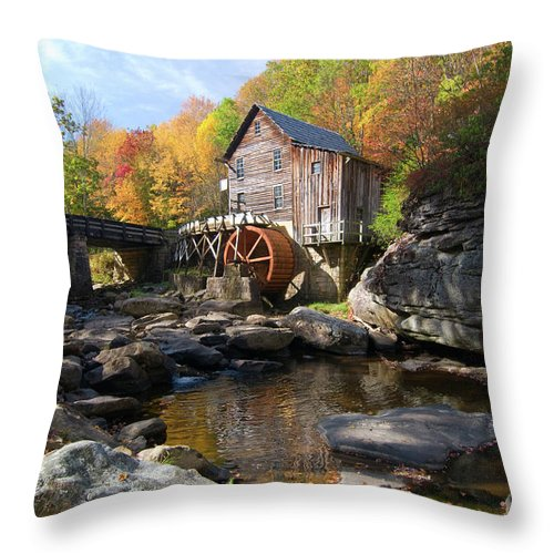 Mill Throw Pillow featuring the photograph Glade Creek Grist Mill by Steve Stuller