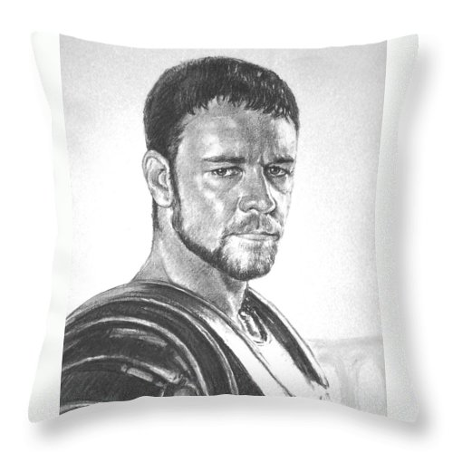 Portraits Throw Pillow featuring the drawing Gladiator by Iliyan Bozhanov
