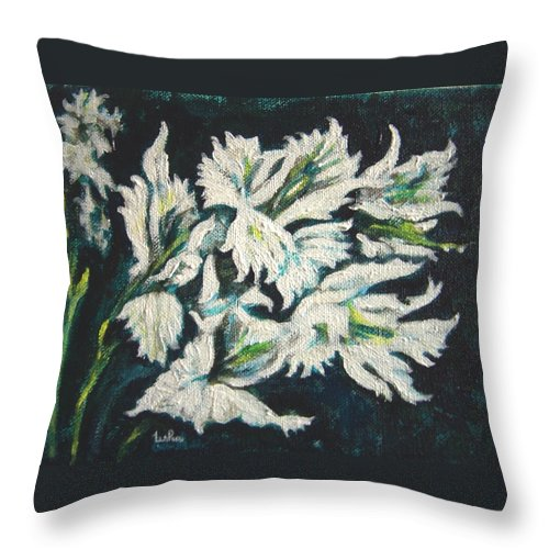 Gladioli Throw Pillow featuring the painting Gladioli by Usha Shantharam
