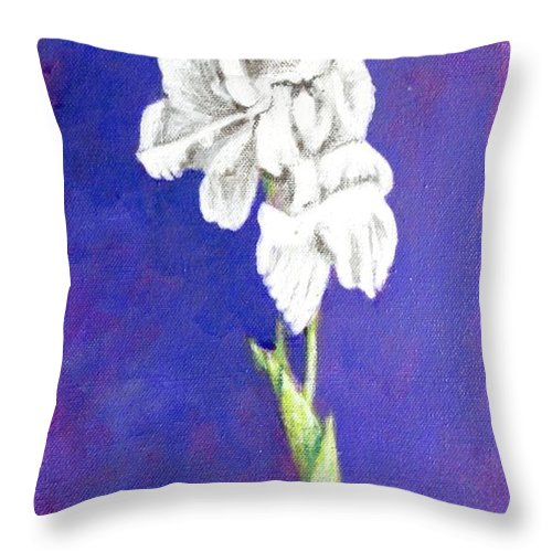 Throw Pillow featuring the painting Gladiolus 2 by Usha Shantharam