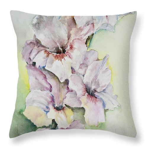 Flowers Throw Pillow featuring the painting Gladiolus by Carolyn Bell