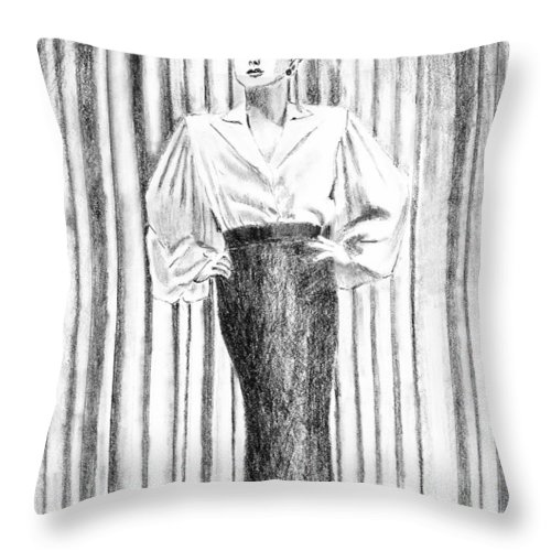 Woman Throw Pillow featuring the drawing Glamour In The 30s by Arline Wagner
