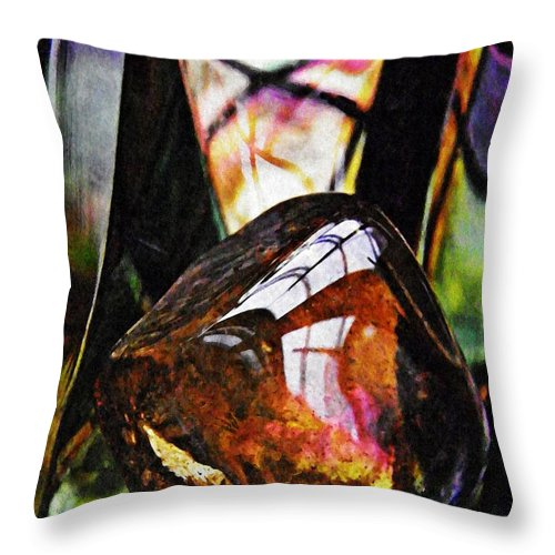 Abstract Throw Pillow featuring the photograph Glass Abstract 315 by Sarah Loft