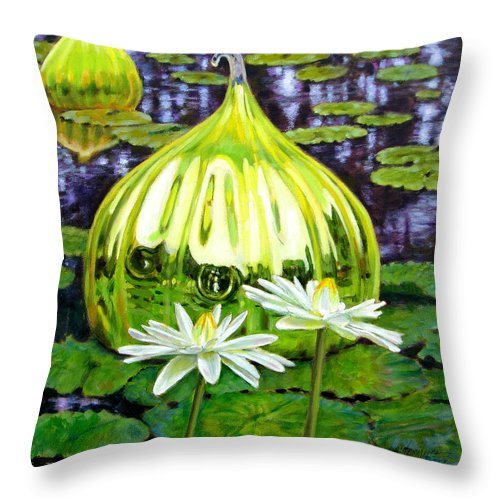 Water Lilies Throw Pillow featuring the painting Glass Among The Lilies by John Lautermilch