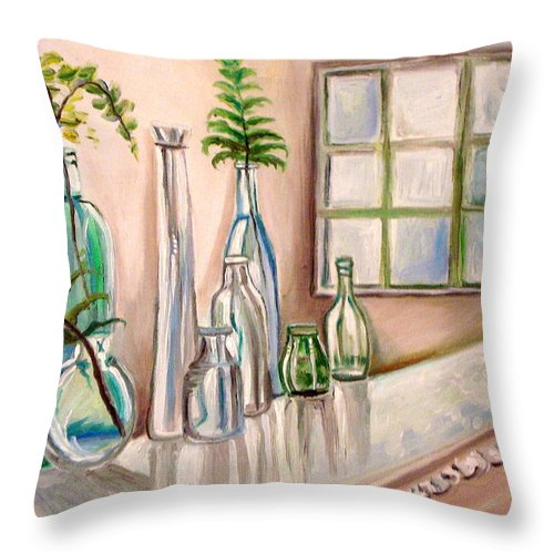 Glass Throw Pillow featuring the painting Glass And Ferns by Elizabeth Robinette Tyndall