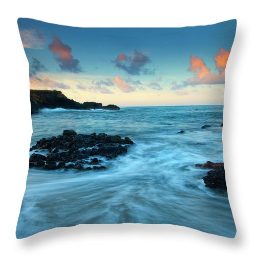 Glass Beach Throw Pillow featuring the photograph Glass Beach Dawn by Mike Dawson