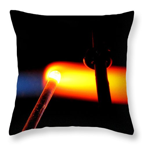 Flame Throw Pillow featuring the photograph Glass Bead Making by Sarah Houser