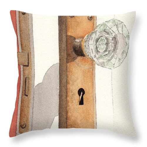 Lock Throw Pillow featuring the painting Glass Door Knob and Passage Lock Revisited by Ken Powers