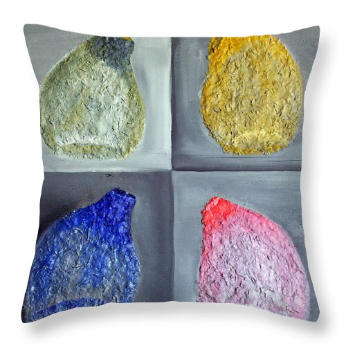 Still Life Paintings Throw Pillow featuring the painting Glass Full Of Shapes by Leslye Miller