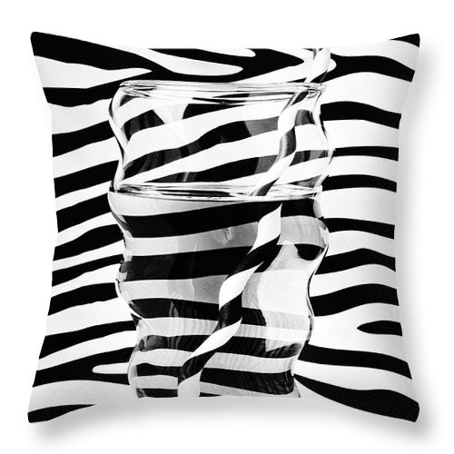 Glass Of Water Distorted Black And White Throw Pillow For Sale By Garry Gay