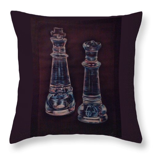 Chess Throw Pillow featuring the drawing Glass Royalty by Summer Porter