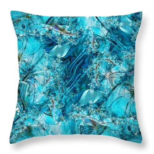 Collage Throw Pillow featuring the digital art Glass Sea by Ron Bissett