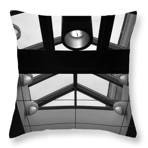 Black And White Throw Pillow featuring the photograph Glass Sky Lights by Rob Hans