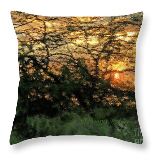 Sunset Throw Pillow featuring the photograph Glass Sunset Hawaii by Heather Coen