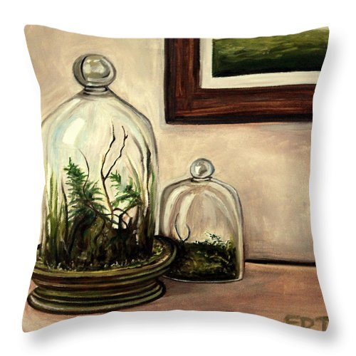 Glass Throw Pillow featuring the painting Glass Terrariums by Elizabeth Robinette Tyndall