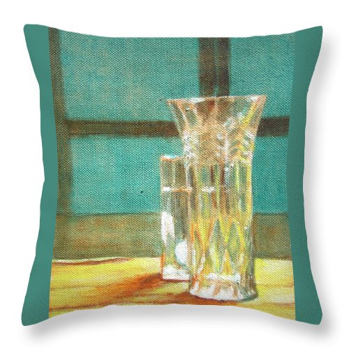 Glass Throw Pillow featuring the painting Glass Vase - Still Life by Usha Shantharam
